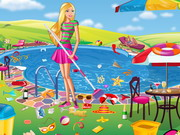 Play Barbie Swimming Pool Cleaning game