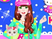 Barbie With Kitty Dressup Game