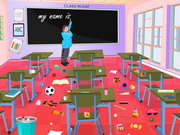 Play Naughty Girls Classroom Cleaning game