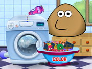 Play Pou Washing Clothes game