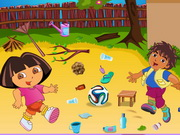 Play Dora And Diego Playing Football game