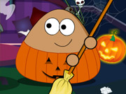 Play Pou Halloween Cleanup game
