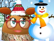 Play Pou Girl Building A Snowman game