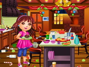 Play Dora Christmas Kitchen Cleaning game
